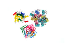 The pushpins clip paper clip combination Royalty Free Stock Photos