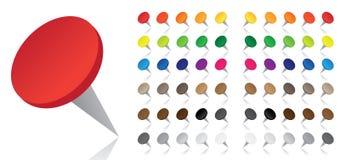 Pushpins coloridos - vetor Imagens de Stock