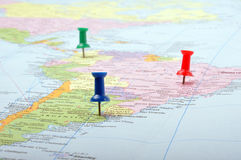 Pushpins on map. Push pins on a map showing united states of america Royalty Free Stock Photography