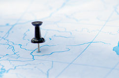 Pushpins map. Destination travel dot on the map Royalty Free Stock Image