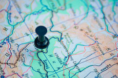 Pushpins map. Destination travel dot on the map Royalty Free Stock Photo