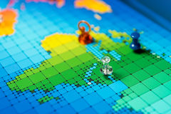 Pushpins on a map of Middle East.  Royalty Free Stock Image