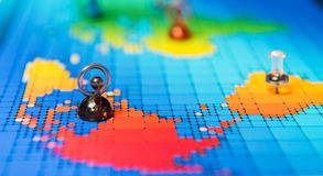 Pushpins on a map of North America Stock Photography