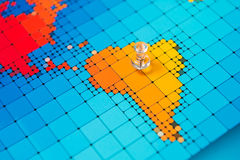 Pushpins on a map of South America royalty free stock image