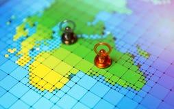 Pushpins na mapie Afryka Zdjęcie Stock