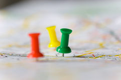 Pushpins On A Map Stock Image