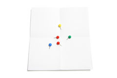 Pushpins on Paper Royalty Free Stock Photo