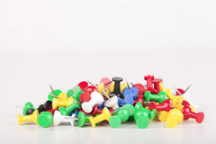 Pushpins. Pile of colorful pushpins isolated on a white background. Space for text Stock Photo