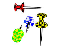 Pushpins plásticos coloridos Imagem de Stock