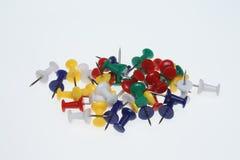 Pushpins or pushneedles. Colorful pushpins or pushneedles on white ground Royalty Free Stock Photography