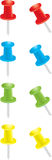 Pushpins. Red, blue, green, and yellow pushpins Stock Image