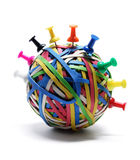 Pushpins on Rubberband Ball Royalty Free Stock Image