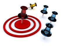 Pushpins on target royalty free stock photography