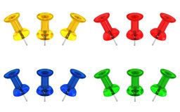 Pushpins transparentes coloridos Imagem de Stock Royalty Free