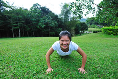 Pushup in garden Royalty Free Stock Photography