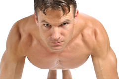 Pushup position Stock Photo