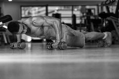 Pushups With Dumbbels Stock Image