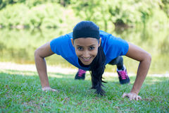 Pushups exercise outside Stock Images