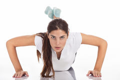 Pushups lady Stock Images