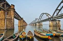 Puskar ghat, Godavari, Morning. Old and new rail bridge over the vast Godavari river - on the morning of Ugadi festival, at Puskar ghat, Rajahmundry Stock Photo