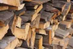 Puso una pila de madera prevista para el horno de la inflamación Foto de archivo