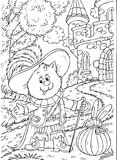 Puss in Boots. Black-and-white illustration (coloring page): Puss in Boots with a rabbit sitting in his bag Royalty Free Stock Image