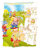 The Puss in Boots fairy-tale castle and books Stock Image