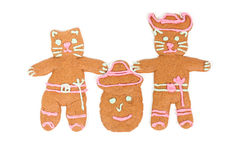 Puss in Boots gingerbread cookie. Puss in Boots, Humpty Dumpty and Kitty Softpaws gingerbread cookies isolated over white background Royalty Free Stock Image