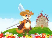 Puss dos desenhos animados nas botas com fundo do castelo Foto de Stock Royalty Free