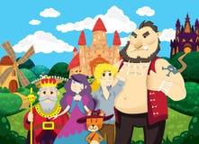 Puss en cargadores del programa inicial Fondo hermoso con los castillos, la charca, el molino y los campos stock de ilustración