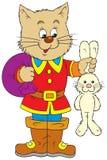 Puss en cargadores del programa inicial y conejo Foto de archivo libre de regalías