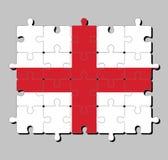 Pussel av den England flaggan i rött centrerat kors på en vit bakgrund royaltyfri illustrationer