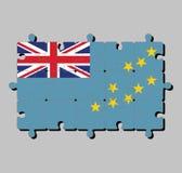 Pussel av den Tuvalu flaggan i ett ljust - blå flagga med översikten av ön av nio gula stjärnor royaltyfri illustrationer