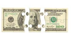 Pussel för dollarsedelpengar Arkivbild