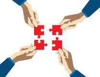 Pussel för fyra händer mot efterkrav på en vit bakgrund Begreppsaffär Royaltyfri Bild