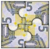 pussel för pengar för hand för begreppseuro finansiellt Royaltyfri Fotografi
