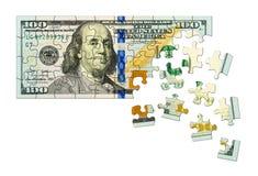 pussel för pengar för hand för begreppseuro finansiellt Arkivbilder