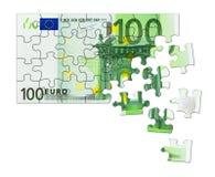 pussel för pengar för hand för begreppseuro finansiellt Arkivfoton