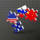 Pussel flagga, USA, EU, Kina, Ryssland opposition 3D, stock illustrationer