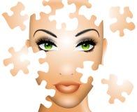 pussel för skönhetframsidakvinnlig Arkivbilder