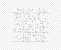 Pussel mörk översikt för mosaik Jigsaw Vektormodell, en kontur Beståndsdelen isoleras på en genomskinlig bakgrund vektor illustrationer
