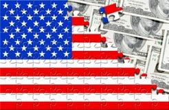 Pussel med flaggan USA och dollar Royaltyfria Foton