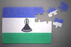 Pussel med nationsflaggan av Lesotho Royaltyfri Fotografi