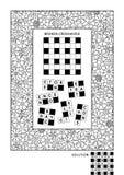Pussel- och färgläggningaktivitetssida för vuxna människor royaltyfri illustrationer
