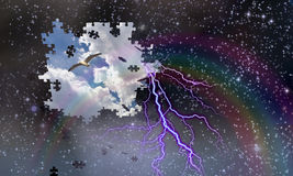 Pusselstycken faller från avslöjande dag för natthimmel med regnbågen och Arkivbilder