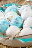 Pussy-верба пасхи и голубое пасхальное яйцо на деревянной предпосылке Ha стоковые фотографии rf
