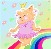 The pussy-cat is a plump princess stock illustration