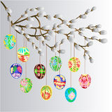 Pussy willow branch and easter eggs vector Stock Photo