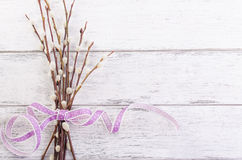 willow branch with lila ribbon on a wooden background Royalty Free Stock Photos