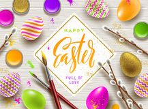 Pussy-willow branches, paint decorated multicolored eggs and  frame with brush calligraphy greeting. Easter greeting illustration. Pussy-willow branches, paint Stock Photo